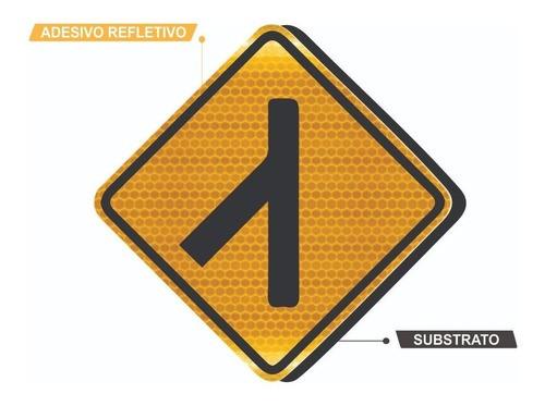 Placa De Trânsito Confluência À Esquerda A-13a Grau Técnico I - 50x50cm