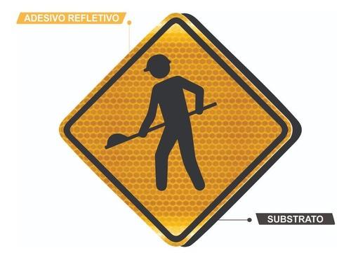 Placa De Trânsito Obras Refletivo A-24 Grau Técnico I - 50x50cm