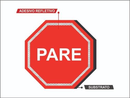 Placa De Transito (parada Obrigatória) Refletiva R-1 Grau Técnico I - 50x50cm