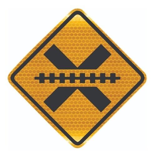 Placa De Trânsito Passagem Sem Barreira Grau Técnico A-39 Grau Técnico Comercial - 50x50cm