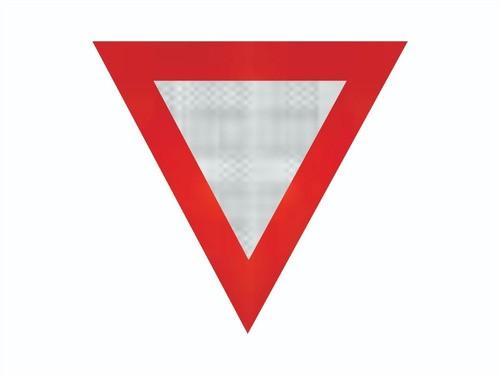 Placa De Trânsito Triângulo Refletiva R-2 Grau Técnico Comercial - 50x50cm