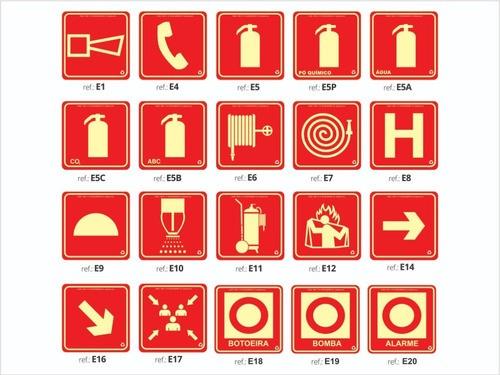 Kit  - 96 Placas Fotoluminescente - Extintor | Saída  - ABNT 13434
