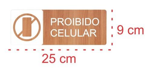 Placa Indicativa Proibido Celular - Alto Relevo  - 25x9cm