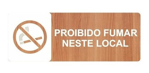 Placa Indicativa Proibido Fumar - Alto Relevo  - 25x9cm