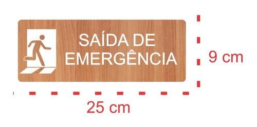 Placa Indicativa Saída De Emergência - Alto Relevo  - 25x9cm