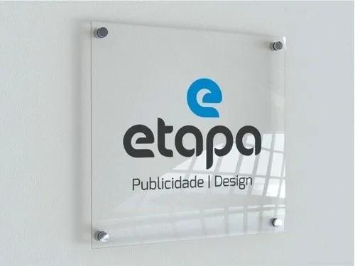 Placa Personalizada em Acrílico -  Empresa   Logo   Marca    Nome - 50x50cm + 4 espaçadores