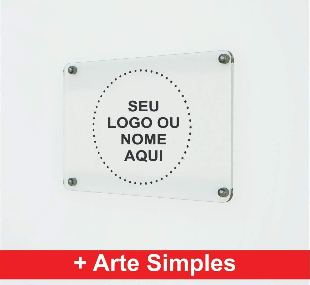 Placa Personalizada Empresa | Logo | Marca | Nome - 12x2cm + 2 espaçadores