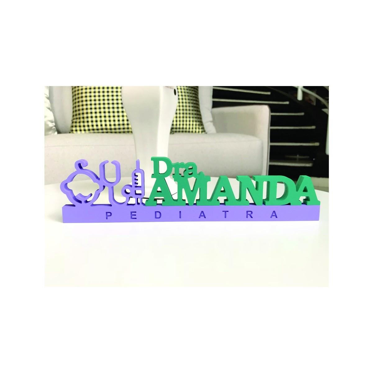 Placa de Mesa - Profissões - Pediatra | Pediatria - Personalizavel | Personalizado - 50x20cm