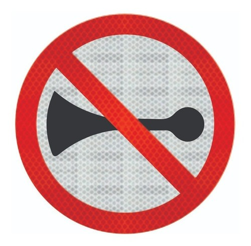 Placa Proibido Buzinar C/ Adesivo Refletivo R-20 Grau Técnico I - 50x50cm