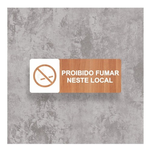Placa Proibido Fumar - Alto Relevo  - 25x9cm
