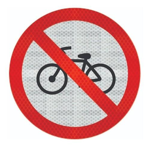 Placa Proibido Trânsito De Bicicletas R-12 Grau Técnico Comercial - 50x50cm
