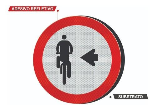Placa Refletiva Ciclista, Transite À Esquerda R-35a Grau Técnico Comercial - 50x50cm