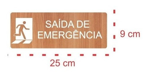 Placa Saída De Emergência - Alto Relevo - 25x9