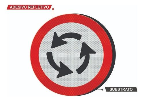 Placa Sentido Circular Na Rotatória R-33 Grau Técnico I - 50x50cm