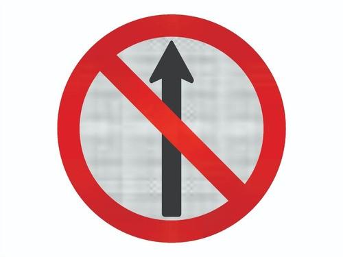 Placa Sentido Proibido C/ Adesivo Refletivo R-3 Grau Técnico I - 50x50cm