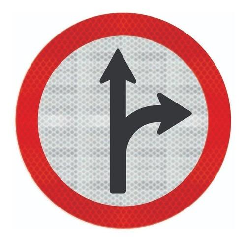 Placa Siga Em Frente Ou À Direita C/ Adesivo Refletivo R-25d