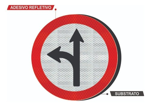 Placa Siga Em Frente Ou À Esquerda Refletivo R-25c Grau Técnico Comercial - 50x50cm
