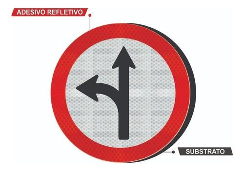 Placa Siga Em Frente Ou À Esquerda Refletivo R-25c Grau Técnico I - 50x50cm