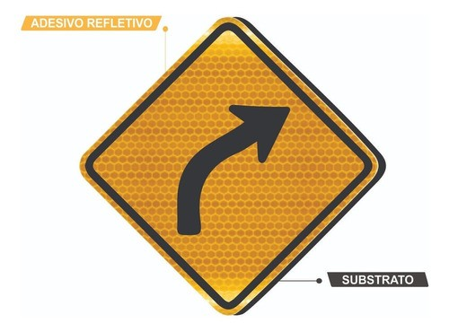 Placa Trânsito Curva À Direita A-2b Grau Técnico Comercial - 50x50cm