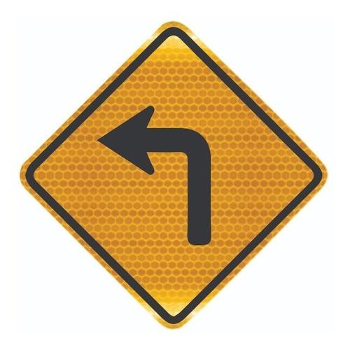 Placa Trânsito Curva Acentuada A Esquerda A-1a Grau Técnico Comercial - 50x50cm