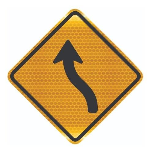 Placa Trânsito Curva Em s À Esquerda A-5a Grau Técnico I - 50x50cm