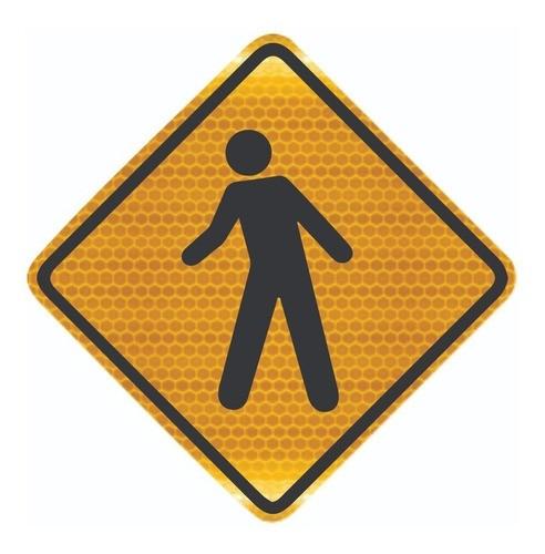 Placa Trânsito De Pedestre Grau Técnico A-32a Grau Técnico Comercial - 50x50cm