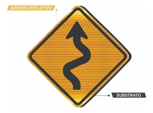 Placa Trânsito Pista Sinuosa À Esquerda A-3a Grau Técnico I - 50x50cm