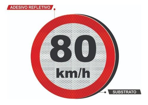 Placa Velocidade Máxima C/ Adesivo Refletivo R-19 Grau Técnico I - 50x50