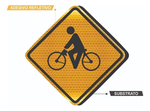 Placa Viária Trânsito De Ciclistas Grau Técnico A-30a Grau Técnico I - 50x50cm