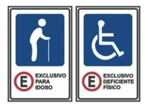 Placas De Trânsito - 1 Idoso E 1 Cadeirante 60x40cm - 50x50cm