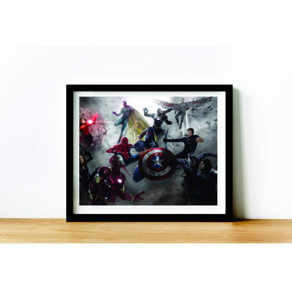 Quadro C/ Moldura - Marvel -  CIvil War | Guerra Civil - 50x40cm