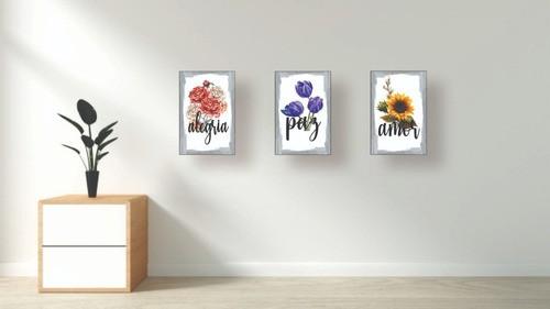 Quadro Decorativo Flores Kit De 3 Quadros 30x20cm