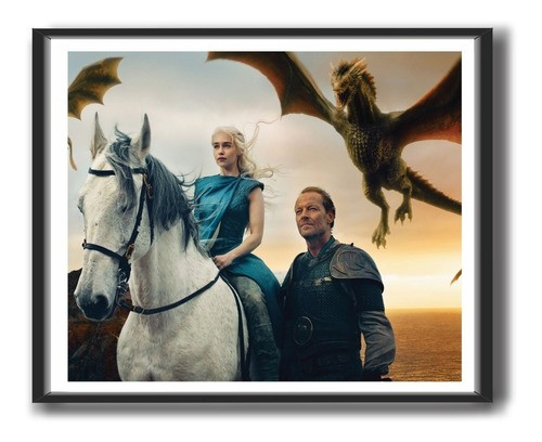 Quadro Decorativo Com Moldura -  Game Of Thrones - Daenerys Targaryen - 50x40cm