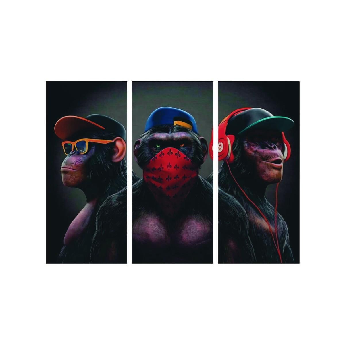 Quadro Mosaico - 3 partes - Gangue de Macacos com Moldura - 60x60cm