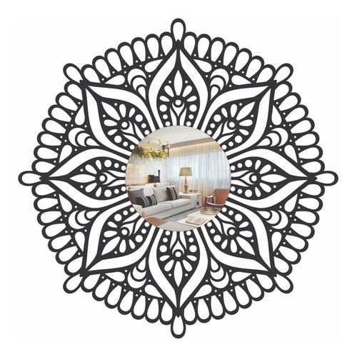 Quadro Vazado   3D Em Mdf - Decorativo - Mandala e Espelho Em Acrilico - 40x40cm