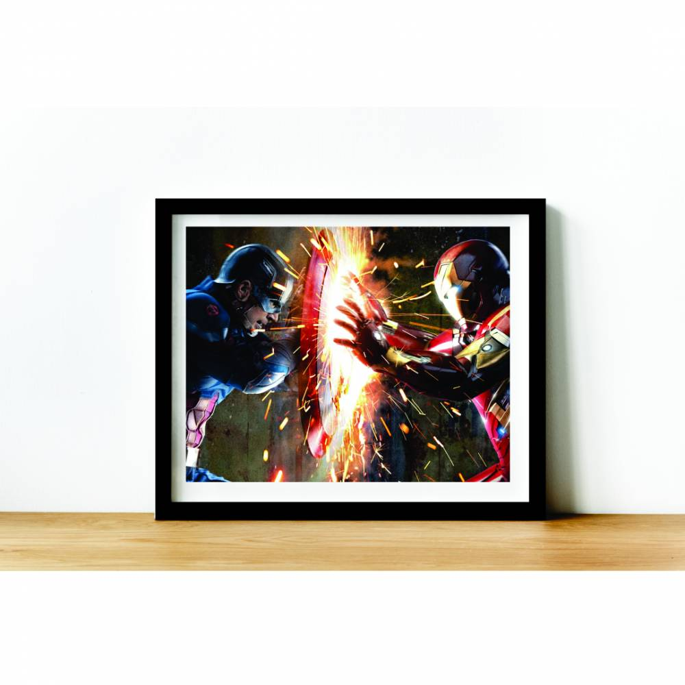 Quadro C/ Moldura - Marvel -  Guerra Civil - 50x40