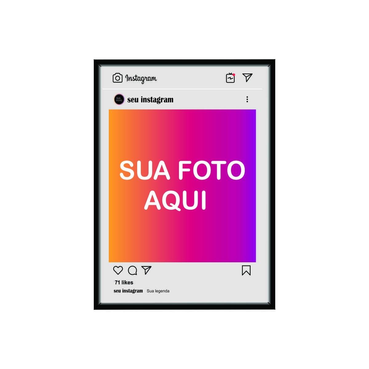 Quadro - Instagram Personalizado - Influencer, Instagraamer. Escolha sua Foto - 50x40cm