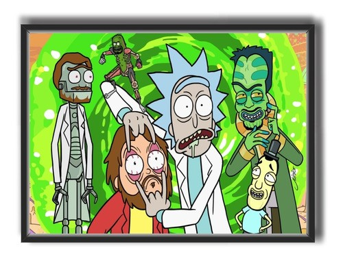 Quadro C/ Moldura - Series - Rick And Morty Portal - 50x40cm