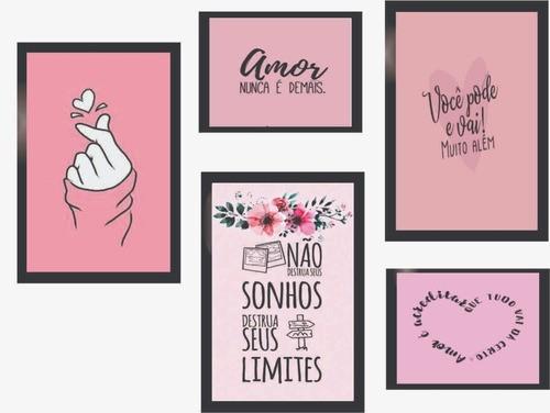 Quadros Decorativos Amor Rosa Kit 5 Unidades (com Moldura)