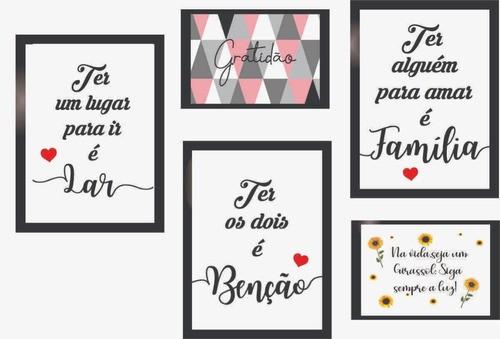 Quadros Decorativos Frases De Amor Kit 5 Peças Com Moldura