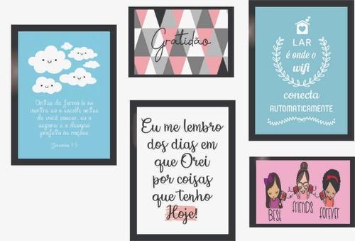 Quadros Decorativos Imagens De Amor Kit 5 Peças Com Moldura