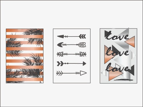 Quadros Decorativos Palmeiras Flechas Love Kit De 3 Unidades