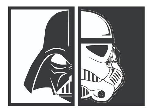 Kit 2 Quadros - Decorativo - Star Wars - Darth Vader   Stormtrooper - 30x20
