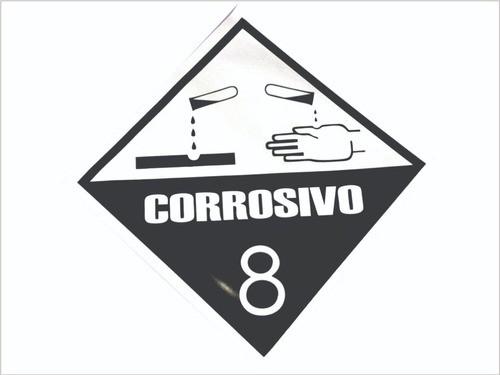 Transporte De Risco Perigoso Corrosivo 8 / Adesivo Refletivo 50x50 cm