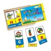Alfabeto Ilustrado - Brinquedo Para Alfabetização - Em Madeira - 78 Peças