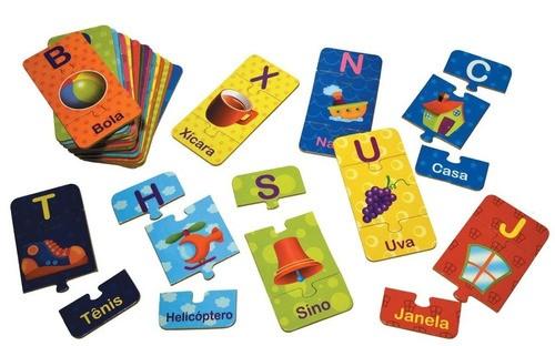 Alfabeto Ilustrado - Letra, Imagem E Palavra- Em Madeira