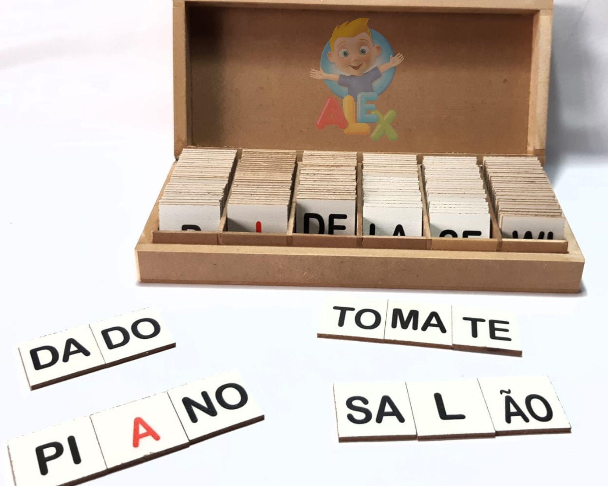 Alfabeto silábico - sílabas + letras - em madeira - 160 peças