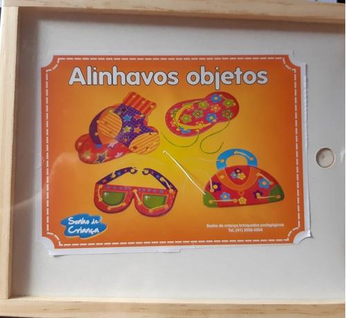 Alinhavos Objetos -  Brinquedo Educativo - Em Madeira