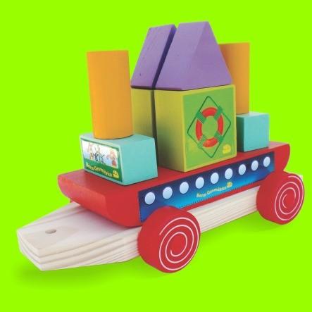 Barco Geométrico  - Brinquedo Pedagógico Educativo - Em Madeira