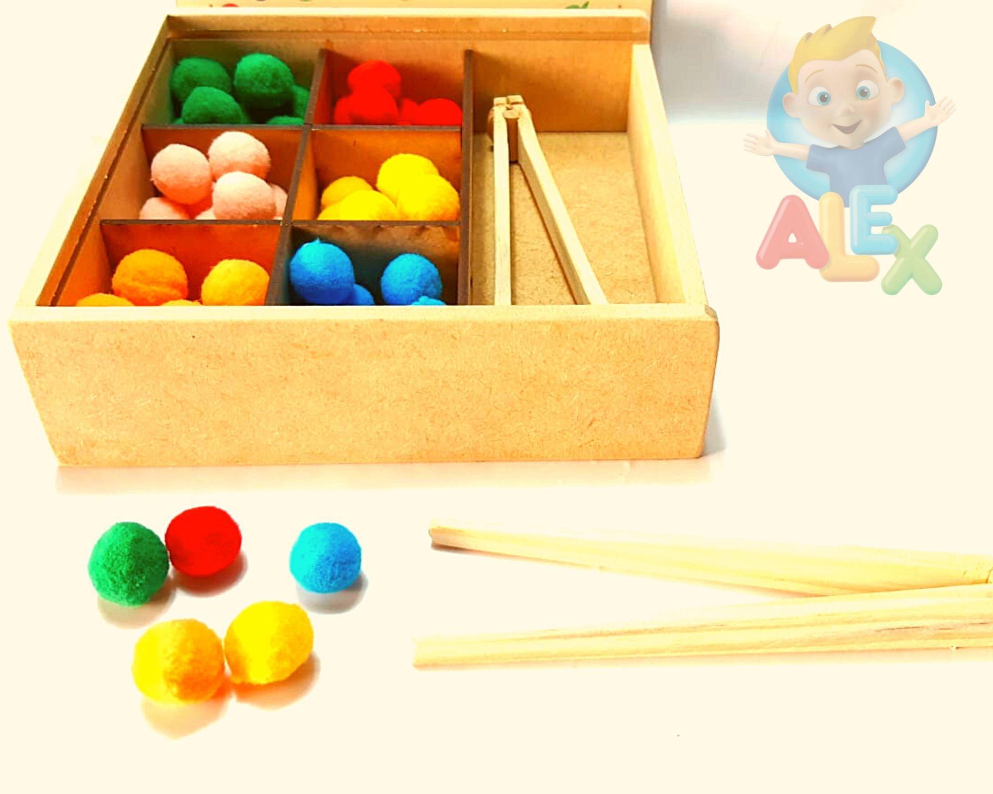 Caixa De Pompons Coloridos + Pinça -  Psicomotricidade